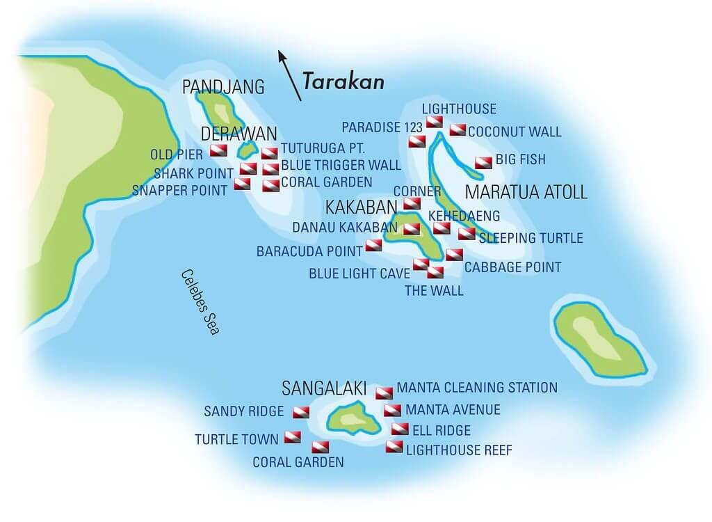 mastrosommerso-crociera-mappa-isole Derawan